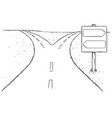 fork in the road empty arrow sign drawing vector image vector image