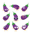funny eggplant - isolated cartoon emoticons vector image vector image