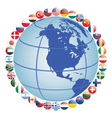 globe with flag icons vector image vector image