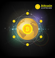 gold bitcoin on the background of the planet vector image vector image