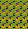 halloween pattern with owl and pumpkin vector image