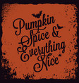 halloween pumpkin vintage lettering background vector image