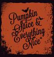 halloween pumpkin vintage lettering background vector image vector image