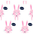hand drawing print design bunny pattern seamless vector image