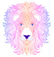 hand drawn head lion vector image