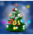 Happy new year 2017 card with pine tree vector image