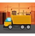heavy machinary over city construction background vector image