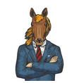 horse businessman color sketch engraving vector image vector image