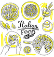 italian food- set of food hand-draw vector image vector image