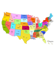 Map of USA with states and their capitals vector image vector image