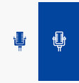 microphone multimedia record song line and glyph vector image vector image
