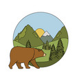 mountains with bear grizzly scene vector image