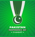 pakistani day medal with flag on abstract glowing