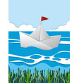 paper boat floating on river vector image vector image