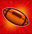 rugby ball on comic style background design vector image vector image