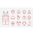 Safety at work Job safety line icons set vector image vector image