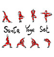 santa claus doing yoga set sketch vector image vector image