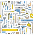 seamless pattern with manual and powered tools for vector image
