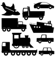 Set 1 of different transport silhouettes vector image vector image