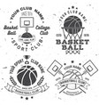 set basketball college club badge vector image