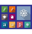 set flat education and science icons vector image