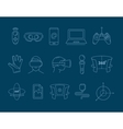 set of linear icons virtual reality accessories vector image vector image