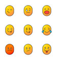 smileys color icons set vector image