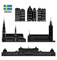 swedish set landmark icons vector image