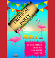 tropical party flamingo poster vector image