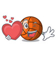 with heart volleyball mascot cartoon style vector image