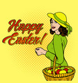 woman with eggs in basket pop art vector image