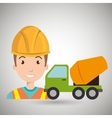 worker mixer cement machinery vector image