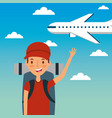 young man traveler vacation with backpack and fly vector image