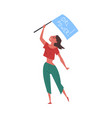 young woman activist holding flag with girl power vector image
