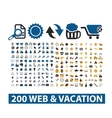 20 web vacation icons set vector image vector image