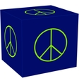 3d cube with the peace sigh vector image vector image
