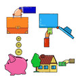 a man buys a house puts money in the safe piggy vector image