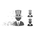 american capitalist damaged pixel halftone icon vector image