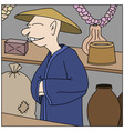 asian trader in his shop vector image vector image
