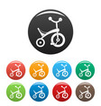 baby tricycle icons set color vector image vector image
