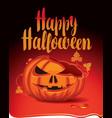 banner for halloween party with a broken pumpkin vector image vector image