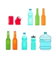 Bottles collection isolated on white full vector image vector image
