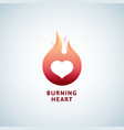 burning heart abstract sign symbol or logo vector image vector image