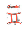 cartoon gemini zodiac icon in comic style vector image