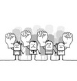 cartoon protesting group of people vector image