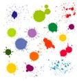 Color paint splatter ink blots collection vector image