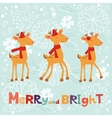 Colorful Merry Christmas composition with happy vector image