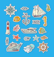 colorful sketched sea elements stickers vector image vector image