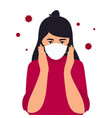 Covid19-19 coronavirus symptoms the girl puts
