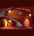 deep dungeon in medieval castle cartoon vector image